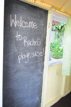Inside our playhouse #chalkboard