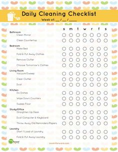Free Daily Cleaning Checklist Printable checklist printable free 20 Free Printables to Organize Everything in Your Home