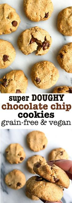 Super Doughy Chocolate Chip Cookies! Vegan and grain free cookies that are made with almond and coconut flour. No egg and super easy to make!