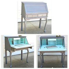 Diy Desk Refurbish Furniture Makeover Ideas For 2019 Desk Redo, Desk Makeover, Diy Desk, Furniture Makeover, Grey Painted Furniture, Refurbished Furniture, Repurposed Furniture, Furniture Projects, Home Furniture