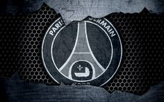 Herunterladen hintergrundbild 4k -, psg -, metall-logo, paris saint-germain, liga 1, logo, grunge, fußball, fußball club, ligue 1, kunst, psg, fc