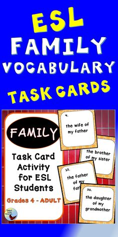 Reinforce Family Vocabulary with your English Language Learners using these engaging task cards. Use for your ESL Lessons and for teaching English to beginners. Teaching English Grammar, English Language Learners, Teaching Writing, Teaching Ideas, English Vocabulary, Vocabulary Cards, Vocabulary Activities, English Writing Exercises, Activities For Teens