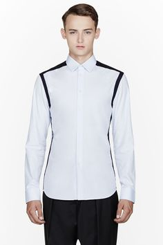 GIVENCHY Blue contrast-trimmed shirt