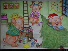 Os preparativos natalícios na casa dos três porquinhos.