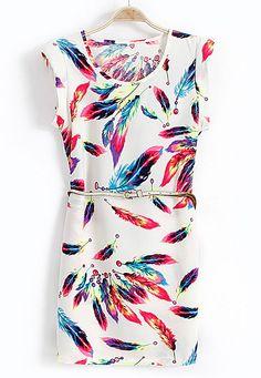White Sleeveless Feather Print Belt Dress
