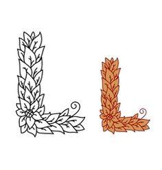 Leaf design uppercase letter L vector