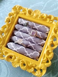 Yellow and grey ring display LAST ONE by DaintyCreations, $13.99 Great ring holder for night stand or kitchen and taking it whenever you travel. Ring holder.