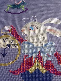 The White Rabbit from Brooke's Books Wonderland Cross Stitch Collection by Brooke Nolan. http://www.craftsy.com/user/1333992/pattern-store?_ct=fhevybu-ikrdql-fqjjuhdijehu