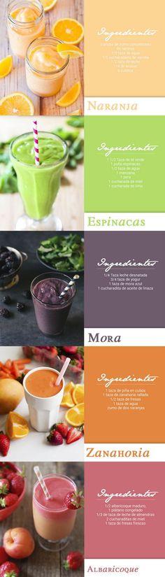 Deliciosos batidos de frutas y verduras que te pueden ayudar a perder peso. #infografias #salud #batidos
