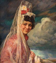 Mujer con mantilla y paisaje al fondo. Ismael Blat Monzo ================= https://es.pinterest.com/marajosmuoz/mantilla-espa%C3%B1ola/