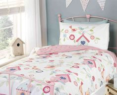 Birdhouse, girls bedding set. Pretty songbirds and floral patterned single duvet and pillowcase set