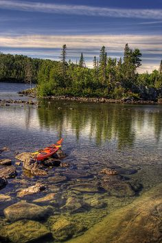Kayak at Hawk Island, Isle Royale, National Park, Michigan