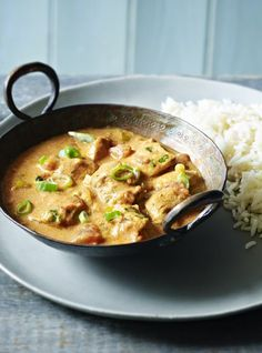 This wonderfully spicy chicken curry is full of flavour and takes less than half an hour! The secret to the rice is leaving it to steam with the lid on after you take it off the heat.