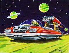 retro space car art