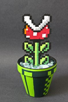 Super Mario Bros. perler bead Piranha plant and pipe by Kelsey Rushing