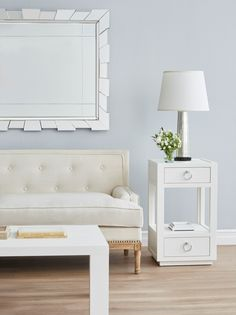 The Camilla 1-drawer is a tall and elegant side table, accented with bold hardware.