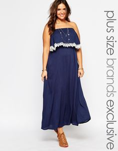 d1321595a12 Image 1 of Alice  amp  You Bandeau Crochet Trim Maxi Dress Plus Size  Fashion For