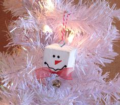 Delightful Snowman ornament for your Christmas tree! Bring out the child in all of us with this unique design. I love upcycling/recycling items