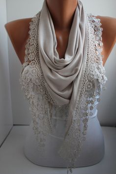 NEW- Beige Scarf - Shawl Scarf - Jersey Scarf - Triangle Scarf - - Headband - Cowl with Lace Edge- DIDUCI by DIDUCI on Etsy https://www.etsy.com/listing/181487472/new-beige-scarf-shawl-scarf-jersey-scarf