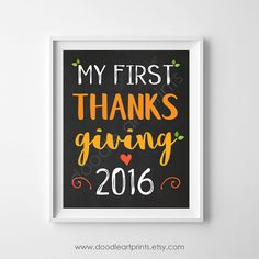 My First Thanksgiving 2016 Art Print by DoodleArtPrints on Etsy