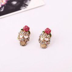 Funny Skull Shape Stud Earrings  - New In