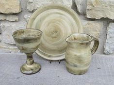 Communion plate chalice and pitcher 3 pc set. Handmade