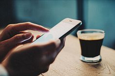Close-up of female hand with smart phone Close Up, Bakery, Smartphone, Stock Photos, Female, Coffee, Kaffee, Bakery Business, Cup Of Coffee