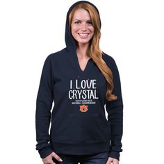 Auburn Tigers 2014 BCS National Championship Game Bound Women's I Love Crystal Pullover Hoodie - Navy Blue
