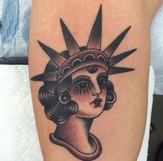 You'd be hard pressed to go wrong with a Statue of Liberty – Brad Stevens Traditional Usa Tattoo, American Traditional, Traditional Sleeve, Pin Up Tattoos, Cool Tattoos, Tatoos, Wrist Tattoos For Women, Tattoos For Guys, Future Tattoos