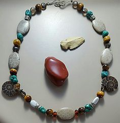 Ammonites and Fossilized Coral Necklace