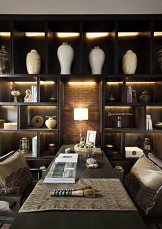 """Luxury Chinese - between Vanke """"New Asia"""" design template (. Chinese Interior, Asian Interior, Interior And Exterior, Home Office Design, House Design, Regal Design, Asian Design, Asian Decor, Shelf Design"""