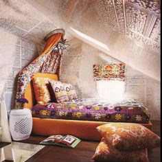 Amazing Unusual Choice About Bohemian Bedroom Decor Amusing Canopy Interesting Wall  Pattern Wooden Floor Small Windows Size Cozy Bed White Side Table Color  Setting ...