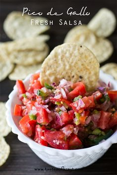 Simply homemade fresh salsa Pico de Gallo. It's got the best flavor ever! Serve on salads, meats, Mexican dishes or with tortilla chips.