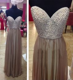 2016 New Long Pearls Sweetheart A-line Chiifon Party Prom Dresses Brown Formal Evening Gowns Plus Size