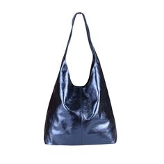 OBC MADE IN ITALY DAMEN LEDER HAND-TASCHE METALLIC Shopper Schultertasche Hobo-Bag Henkeltasche Beuteltasche Silber Blau-Metallic