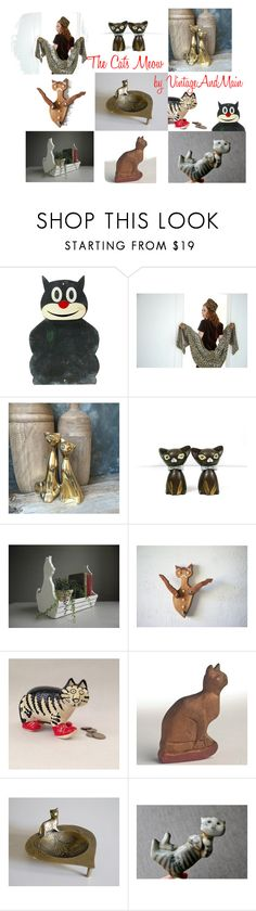 """""""The Cat's Meow"""" by alegriacollection on Polyvore featuring interior, interiors, interior design, home, home decor, interior decorating, vintage and VintageAndMain"""