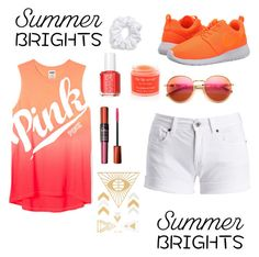 """Summer Brights"" by ahriraine ❤ liked on Polyvore featuring NIKE, Natasha Couture, Barbour International, Essie, Sara Happ, Maybelline, Wildfox and summerbrights"