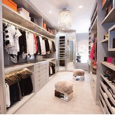 If you're dreaming of a luxury walk-in closet in your home, you're definitely not alone. Visit our gallery of luxurious walk-in closet designs. Le Closet, Closet Vanity, Dressing Room Closet, Wardrobe Closet, Closet Space, Closet Mirror, Dressing Rooms, Walking Closet, Walk In Closet Design