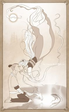 Sokka and Yue That episode with her was so sad :( And they TOTALLY screwed it up in the movie. >:(