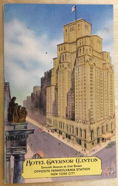 1953 Hotel Governor Clinton Seventh Avenue at 31st Street Opposite PRR Depot NYC  | eBay