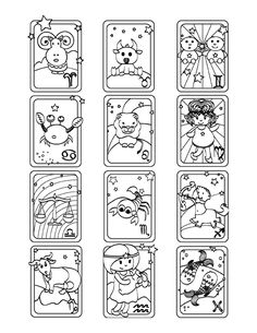 Cute Zodiac Signs Coloring Page Space Coloring Pages, Coloring Sheets For Kids, Mandala Coloring Pages, Coloring Pages For Kids, Coloring Books, Zodiac Signs Colors, Zodiac Signs Aquarius, Zodiac Art, 12 Signs