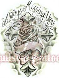 Always Missing You Rose and Cross at BullseyeTattoos.com