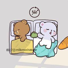 No photo description available. Love Cartoon Couple, Cute Couple Comics, Cute Love Cartoons, Chibi Cat, Kawaii Chibi, Cute Bear Drawings, Kawaii Drawings, Mocha, Funny Doodles