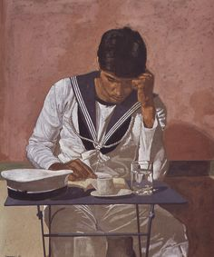 """Mariner Reading on Pink Background"" / Yiannis Tsaroychis (1910-1989)"
