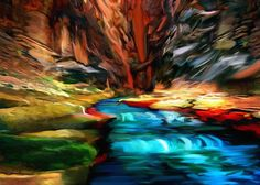 Title Canyon Waterfall Impressions Artist Nadine and Bob Johnston Medium Painting - - Canvas & Prints. Special: Greeting Or Note Cards - Save Or More 10 Or 25 Packs Artist Names, Artist Art, Grand Canyon National Park, National Parks, Canvas Prints, Art Prints, Painting Canvas, Most Beautiful Images, Sales Image
