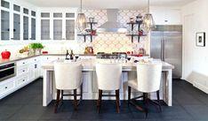 Transitional (Eclectic) Kitchen Photos From Design Professionals Moroccan Tile Backsplash, White Tile Backsplash, Moroccan Tiles, Backsplash Ideas, Splashback Tiles, Moroccan Kitchen, Wall Tiles, Kitchen Tiles, Kitchen Decor