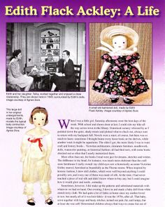 Edith Flack Ackley Dolls 10 Page Article Plus Pattern Great Color Photos | eBay