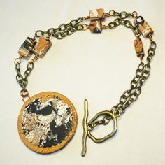 SALE - Mokume-Gane Polymer clay necklace