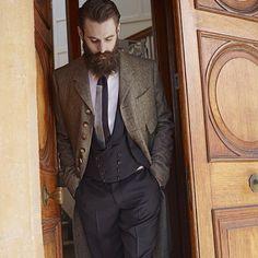 Ricki Hall - full thick dark beard and mustache beards bearded man men mens' style jacket suit vest and tie dapper stylish fashion model handsome #sharpdressedman #beardforever