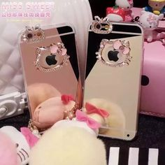 "Etui for iphone 5 5s 6 6s 4.7"" 6plus 6splus 5.5"" hello kitty mirror case luxury bling diamond Soft TPU mirror capa coque p22"